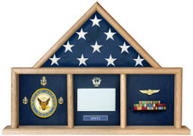 This is a 3 section mantle case which holds a ceremonial flag