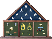 3 Bay Mantle Casket Flag Case by Saymore Trophy