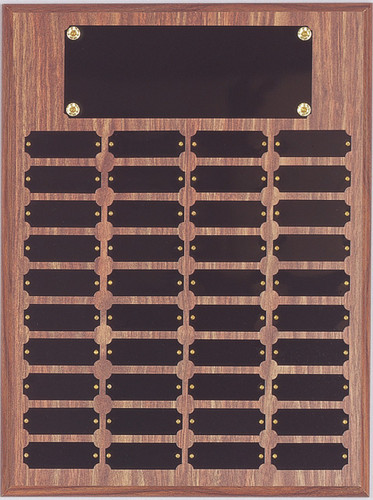 "A 12"" x 16"" walnut finish perpetual plaque with 40 plates"