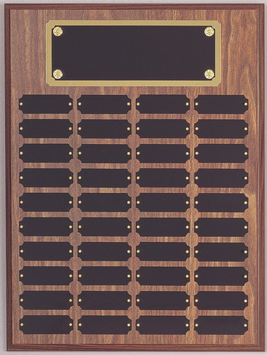 "A 12"" x 16"" walnut finish perpetual plaque with 40 plates and a brass backer plate"