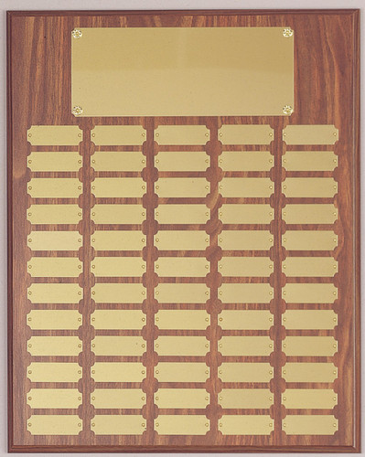 "16"" x 20"" walnut finish perpetual plaque with 50 plates"