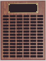 "An 18"" x  24"" walnut finish perpetual plaque with 80 plates and brass backer plate"