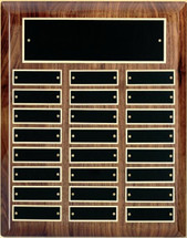 "A 10.5"" x 13"" high gloss piano finish walnut perpetual plaque with 24 plates manufactured by Victory"