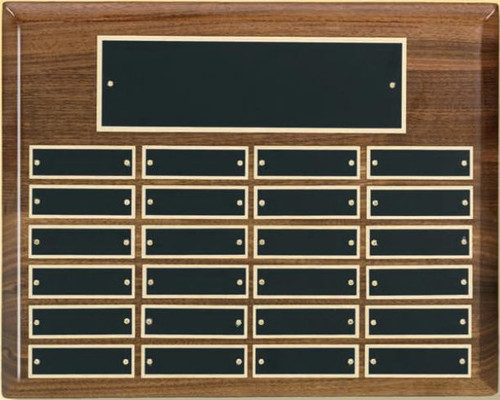 "A 10.5"" x 13"" horizontal high gloss piano finish walnut perpetual plaque with 24 plates manufactured by Victory"