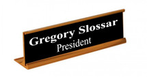 "2"" x 10"" Desk Plate Holder with Name Plate available in Gold, Silver or Black"