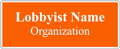 Lobbyist Name Tag for State of New Hampshire
