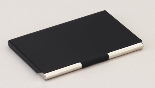 personalized black steel business card case