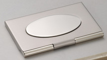 Matte Silver with Oval Business Card Case