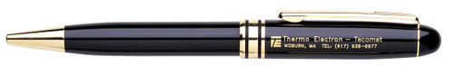 Black and Gold Laser Engraved Personalized Pen