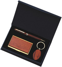 Personalized Rosewood & Maple Pen, Card Case, and Key Tag