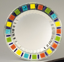 Classic European Styling Metal Tray with Colored Glass
