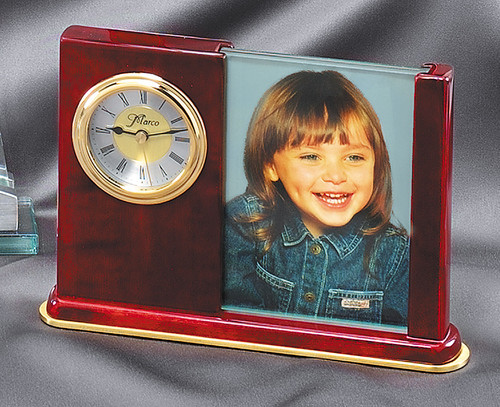 Rosewood Piano Finish Clock with Gold Tone and Picture Holder