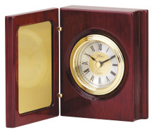 Rosewood Piano Finish Book Clock with Gold Tone