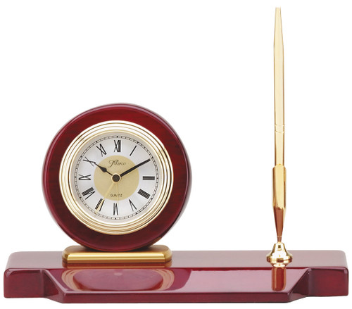 Rosewood and Gold Desk Clock with Pen