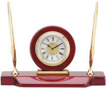 Rosewood and Gold Desk Clock with Pen and Pencil