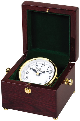 Rosewood Piano Finish Boxed Clock with Gold Tone