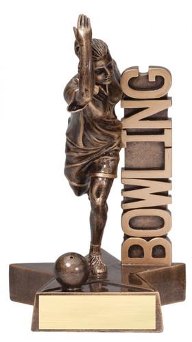 bowling female resin trophy