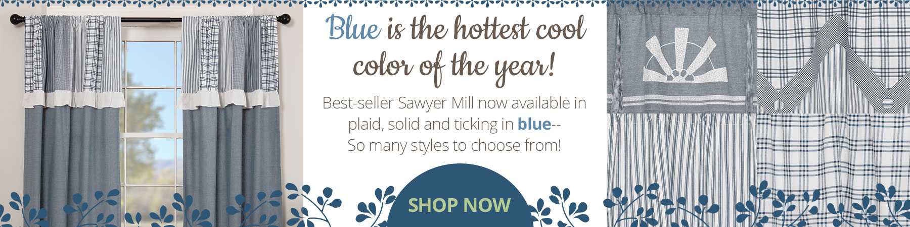 Sawyer Mill Blue country curtains are the newest color trend!