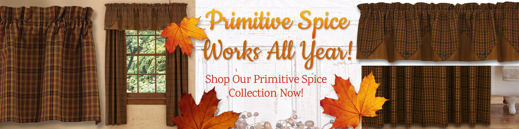 Primitive Spice by Park Designs is perfect for a fall curtain makeover!