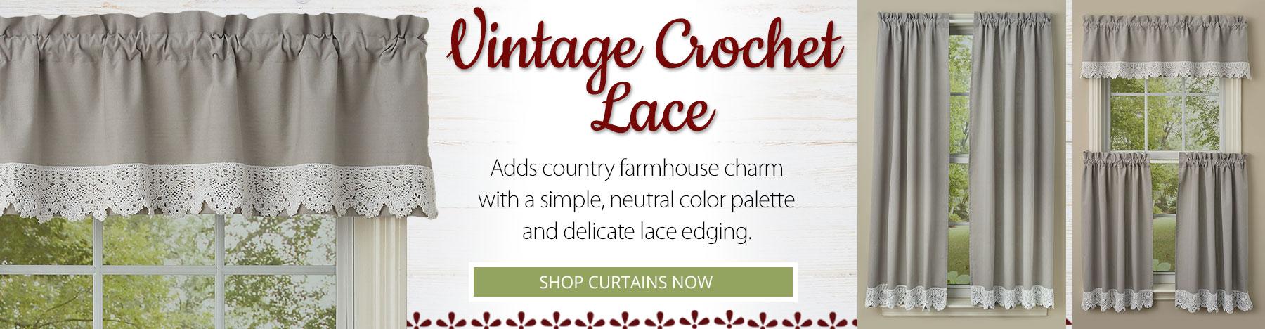 Vintage Crochet Lace Valances, Tiers, Panels and Shower Curtains