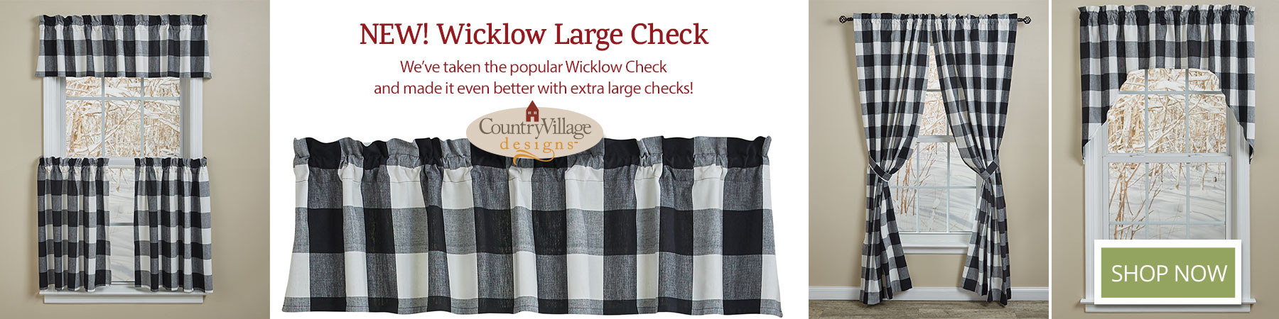Wicklow Large Check curtains only available at Country Village Shoppe