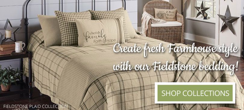 Create Farmhouse style with our Fieldstone Plaid Bedding Collection