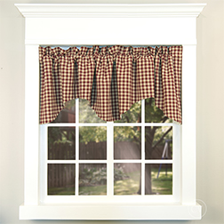 Farmhouse Heritage House Check Scalloped Valance on a white window