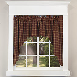Kendrick red check scalloped curtain on a white window
