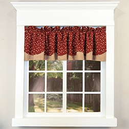 Salem Star layered valance on white window