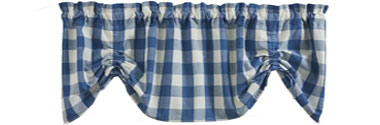 Wicklow Check China Blue Farmhouse Valance
