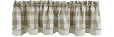Wicklow Check Natural Layered Valance