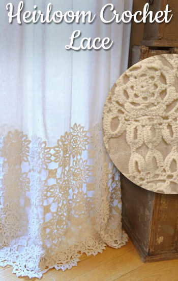 Country Village Handmade Crochet Lace Heirloom Curtains