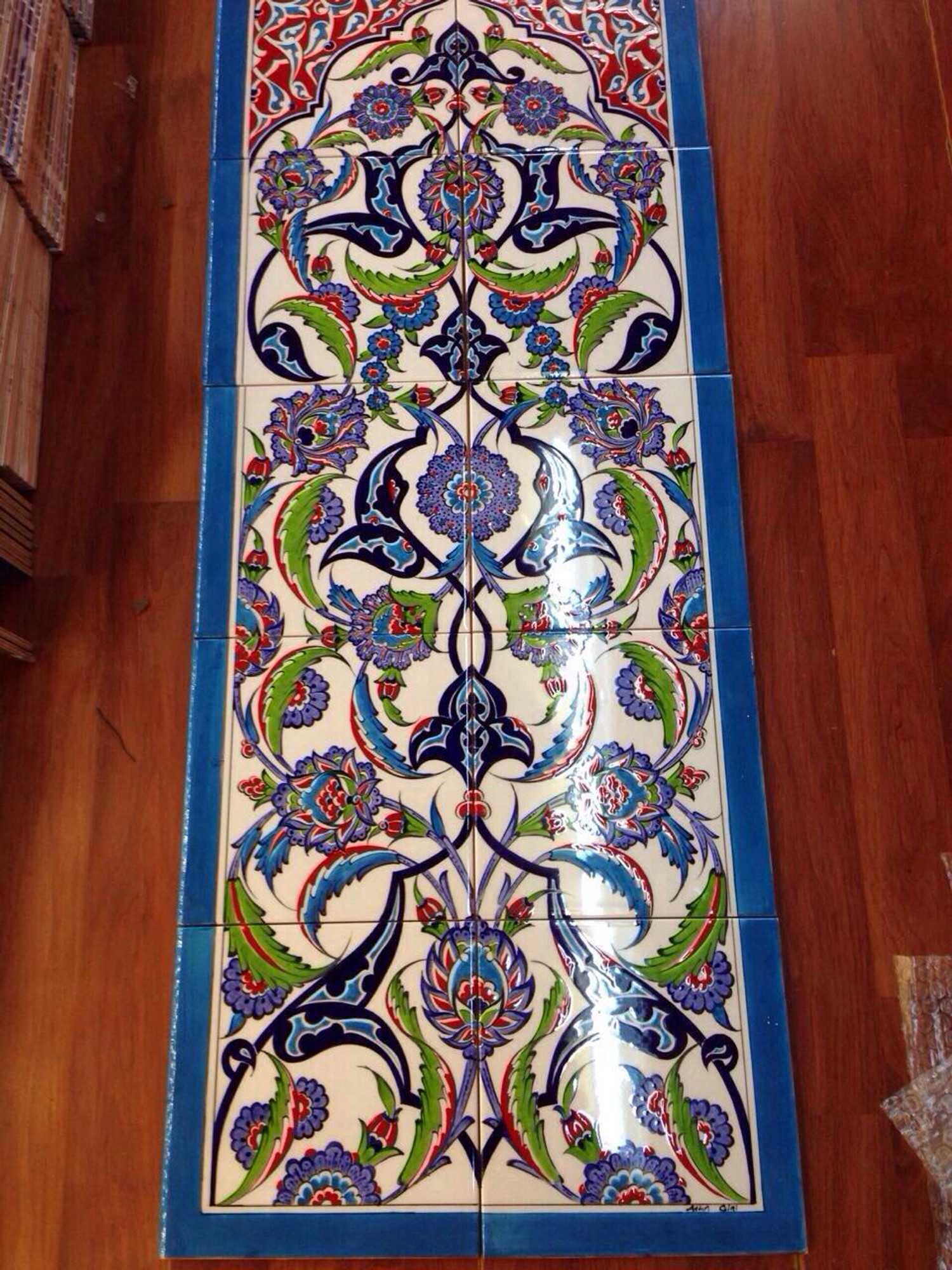 hand painted iznik turkish tiles and tile panels 40x100cm new regal tile panel