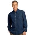 Embroidered long sleeve denim shirt