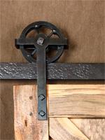 simple riveted wheel barn door trolley
