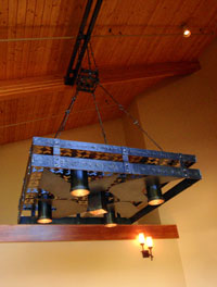 Black Butte Ranch entry chandelier hand forged custom lighting