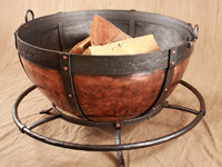 copper cauldron fire pit with foot rail base