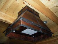 copper range hood pot rack