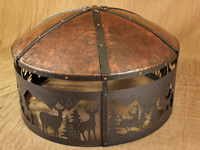 elk fire pit with hammered copper cover
