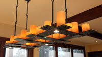 custom hand forged candle chandelier for a dining room