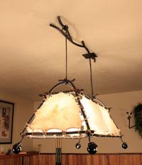 organic custom vine pool talbe light with eagles feet holding an eight ball
