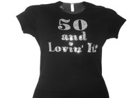50 And Lovin' It Swarovski Crystal Birthday Tee Shirt
