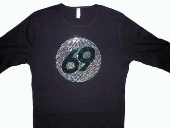 Swarovski Crystal Rhinestone Birthday or Sports Team Player Number T Shirt