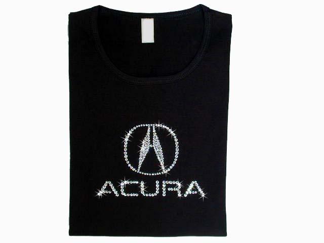 Acura Logo Swarovski Crystal Rhinestone T Shirt Top - Acura clothing