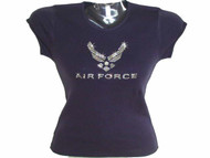 U.S. Air Force Swarovski crystal rhinestone sparkly ladies womens t shirt