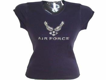 U.S. Air Force Swarovski crystal rhinestone sparkly ladies womens t shirt