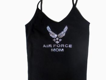 Air Force Mom Swarovski Crystal Rhinestone Camisole, Tank Top or T Shirt