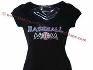 Baseball Mom Swarovski Crystal Rhinestone T Shirt