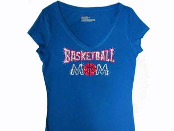 Basketball Mom Swarovski Crystal Rhinestone T Shirt