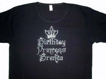 Birthday Princess Crown Bling Rhinestone T Shirt